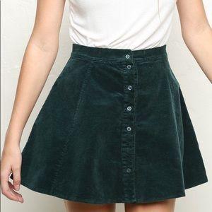 Green Corduroy Brandy Melville Circle Skirt